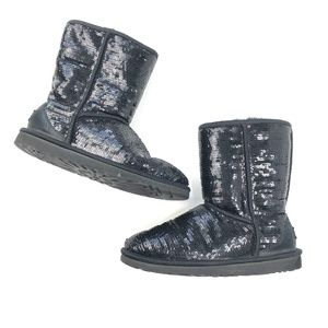 UGG   Black Sequin Pull On Booties